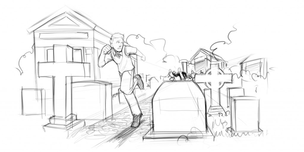 Being chased through the cemetery